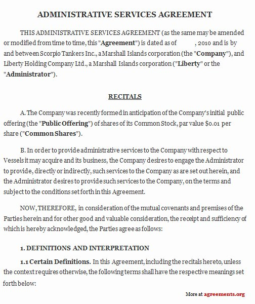 Administrative Services Agreement Sample Administrative