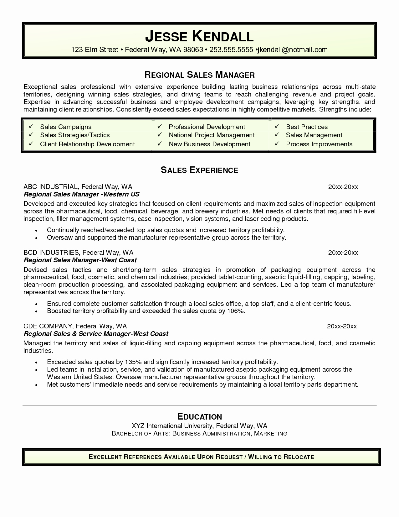 Admirable Sales Manager Resume