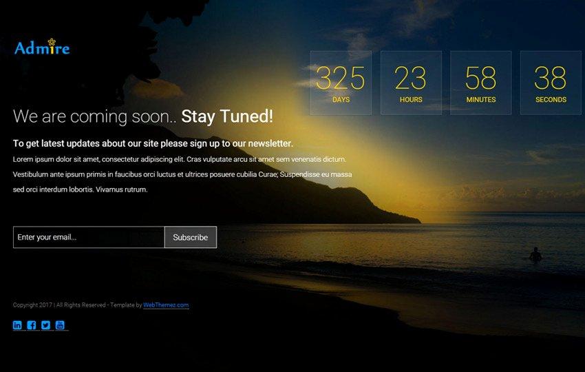 Admire Bootstrap Ing soon Web Template Webthemez