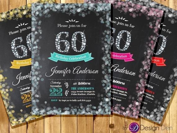 Adult 60th Birthday Invitation Bokeh Invitation Diamond