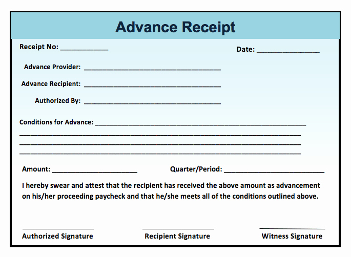 Advance Payment Receipt format • Smdlab Invoice