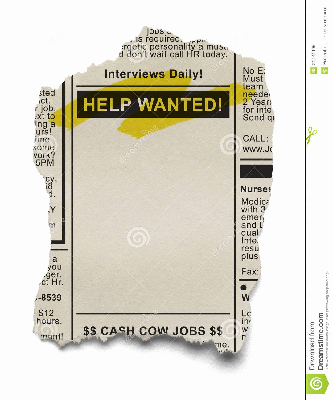 Advertisement Clipart Help Wanted Pencil and In Color