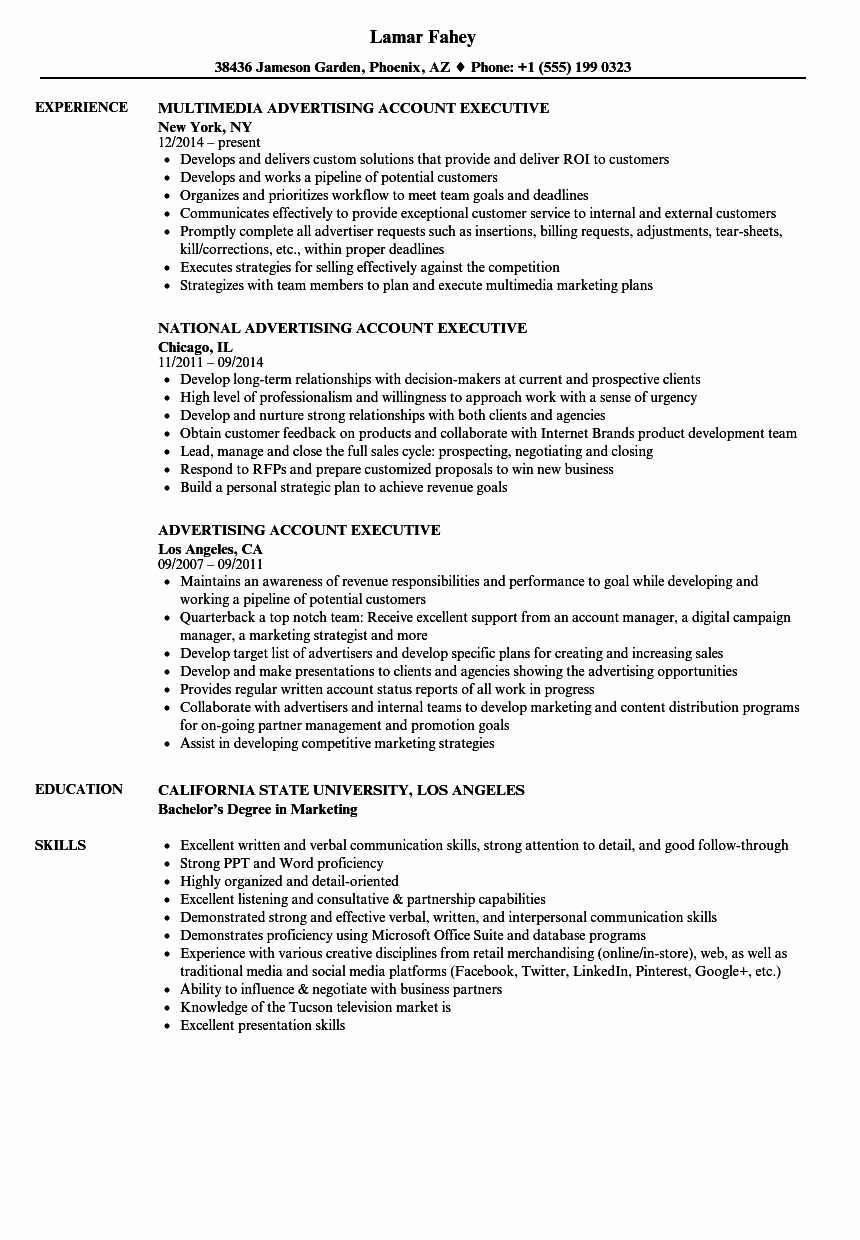 Advertising Account Executive Resume Samples