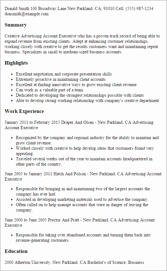 Advertising Account Executive Resume Template — Best