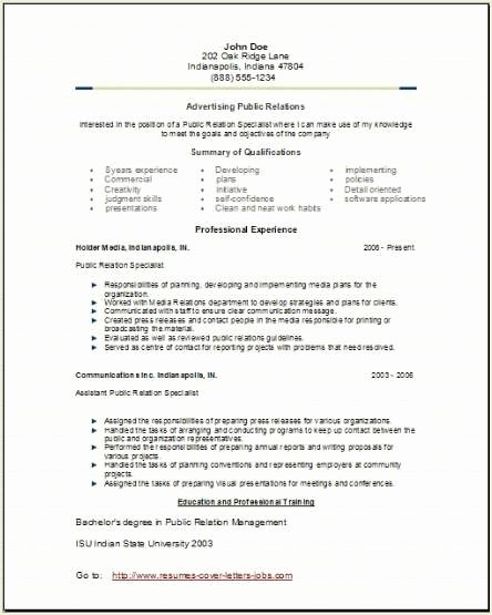 Advertising Public Relations Resume Occupational Examples