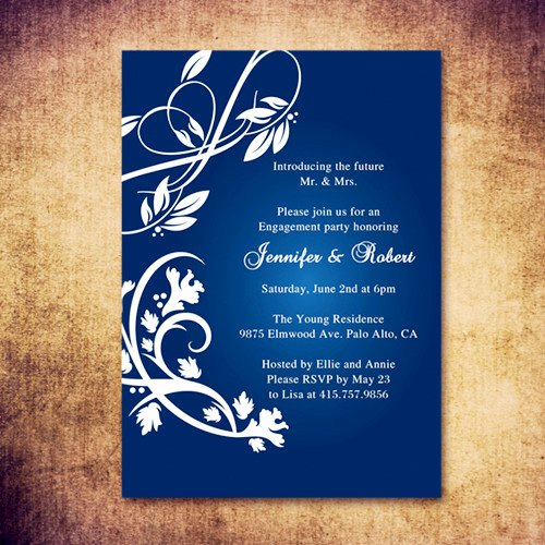 Affordable Rustic Navy Blue Engagement Party Inviations