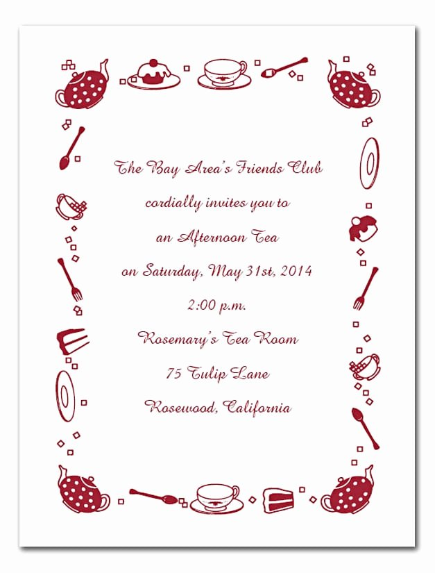 Afternoon Tea Invitation Template Free