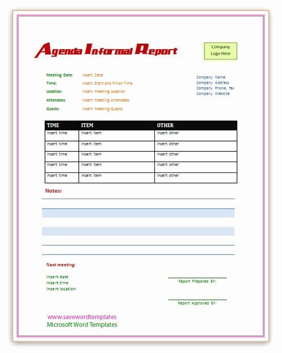 Agenda Informal Report Template
