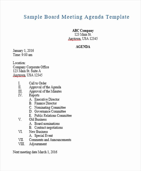 Agenda Outline Templates 10 Free Word Pdf format