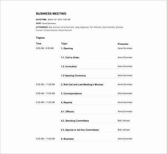 Agenda Template – 24 Free Word Excel Pdf Documents