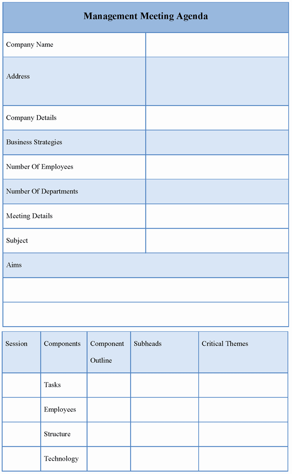 Agenda Template for Management Meeting Sample Of