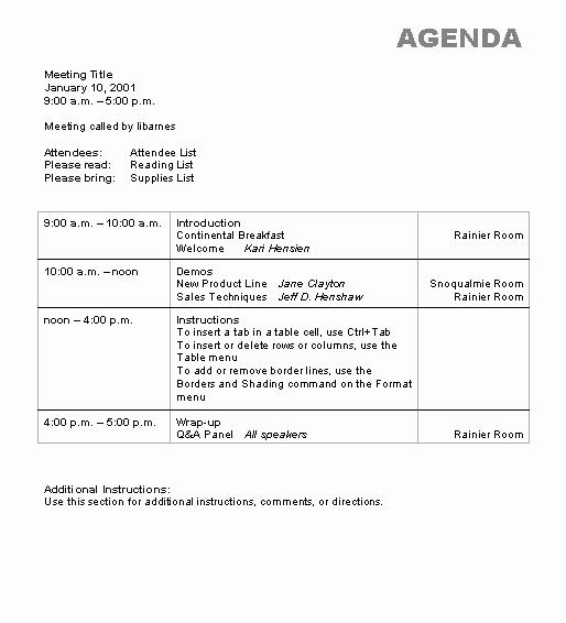 Agenda Wizard Template Microsoft Word Template