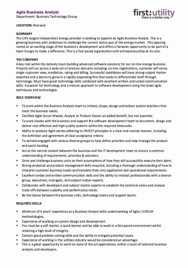 Agile Business Analyst Resume Skills