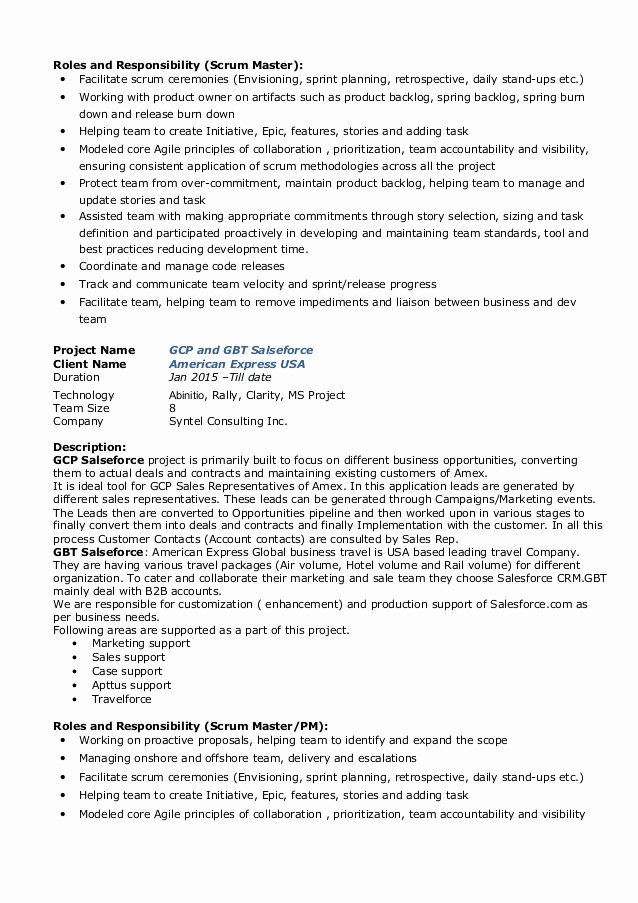 Agile Project Manager Resume Fiveoutsiders