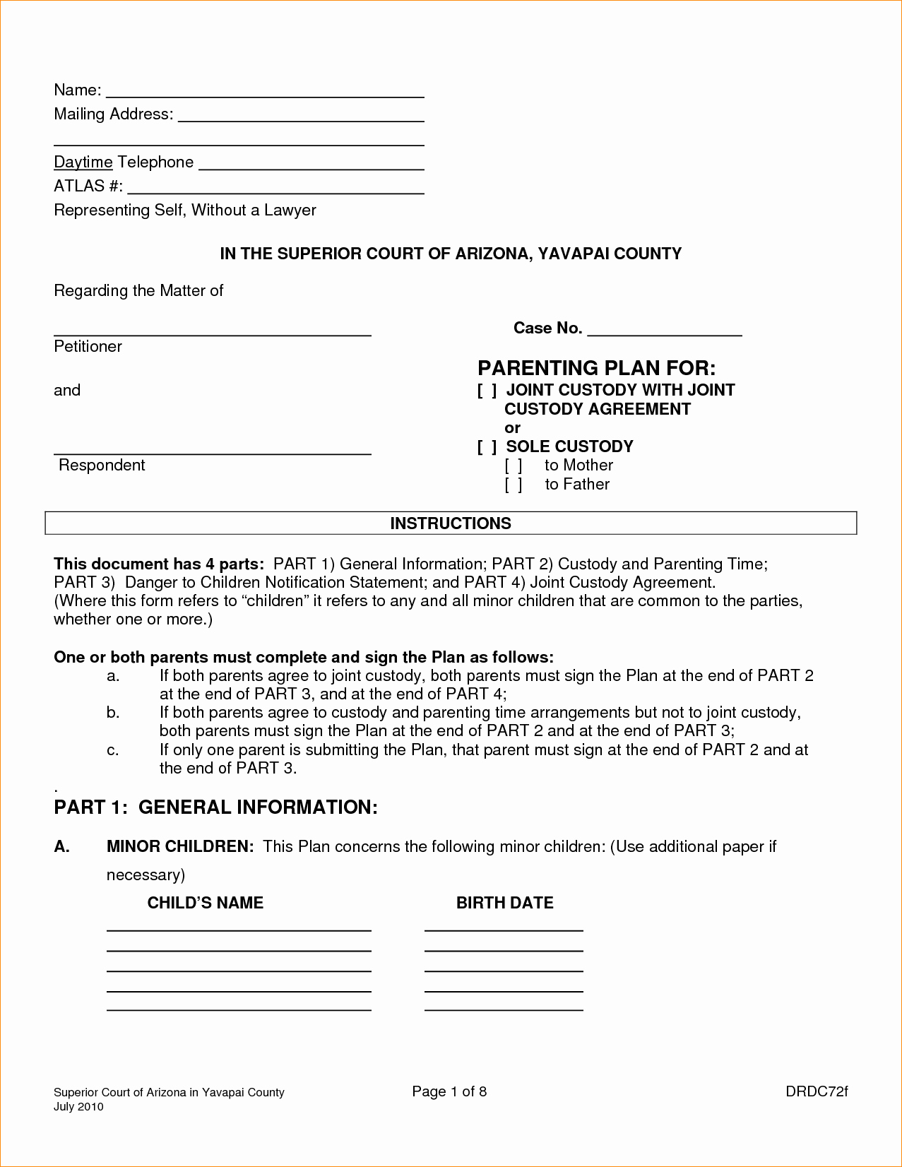 Agreement Joint Custody Agreement form