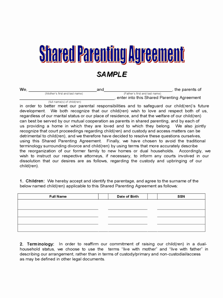 Agreement Joint Custody Agreement form
