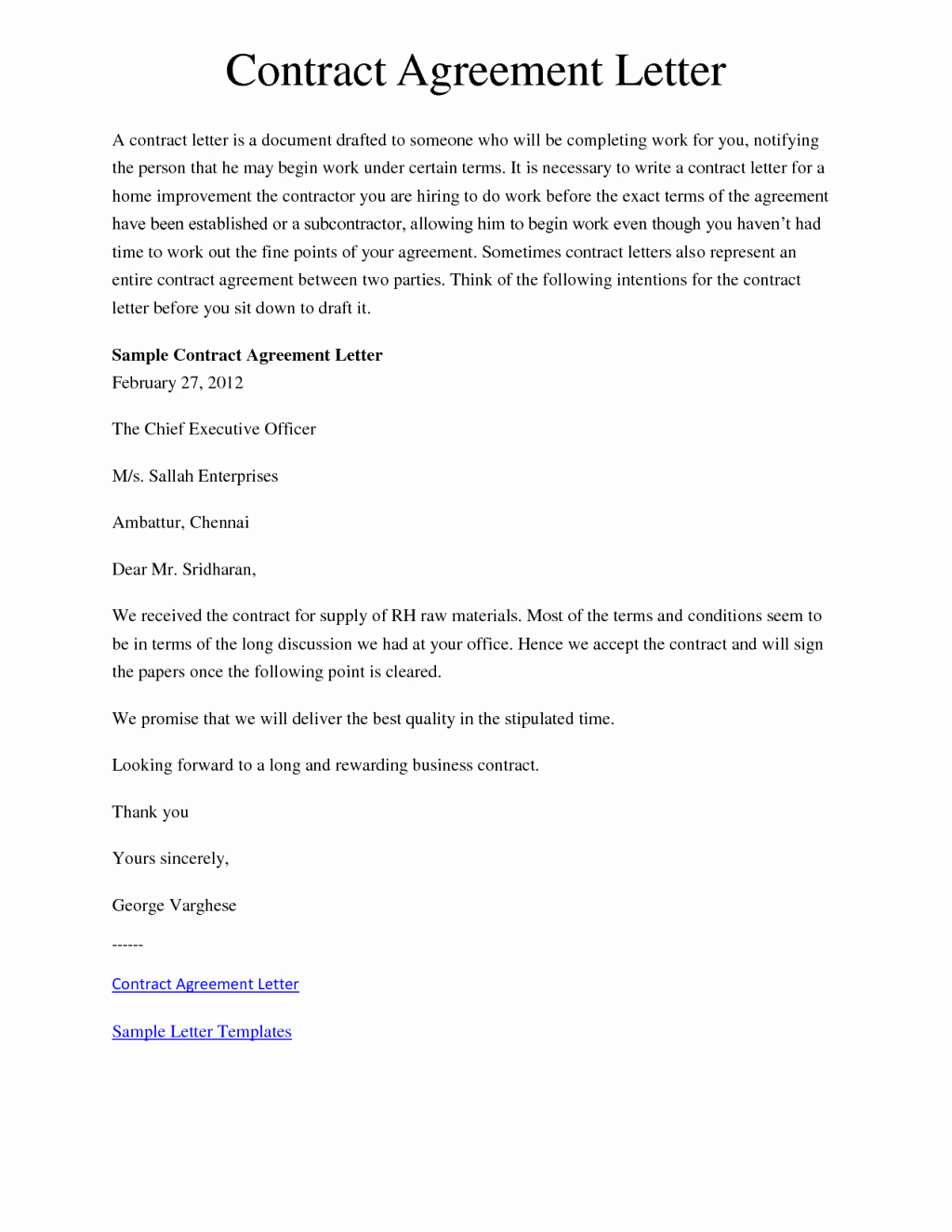 Agreement Letter Template Sample Templates Eulbizp