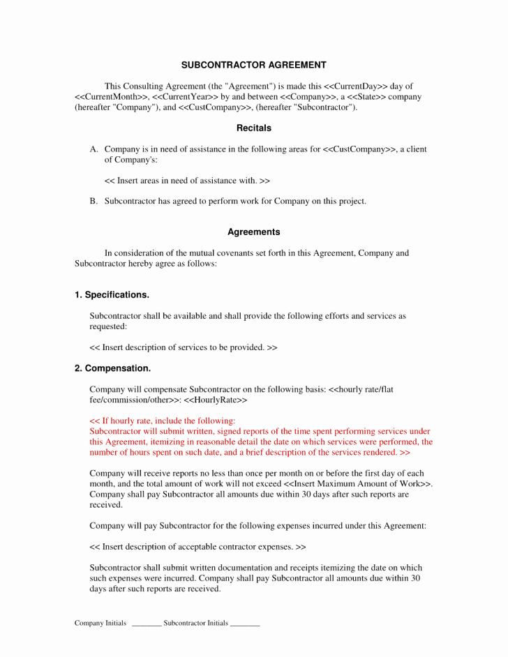 Agreement Subcontractor Agreement