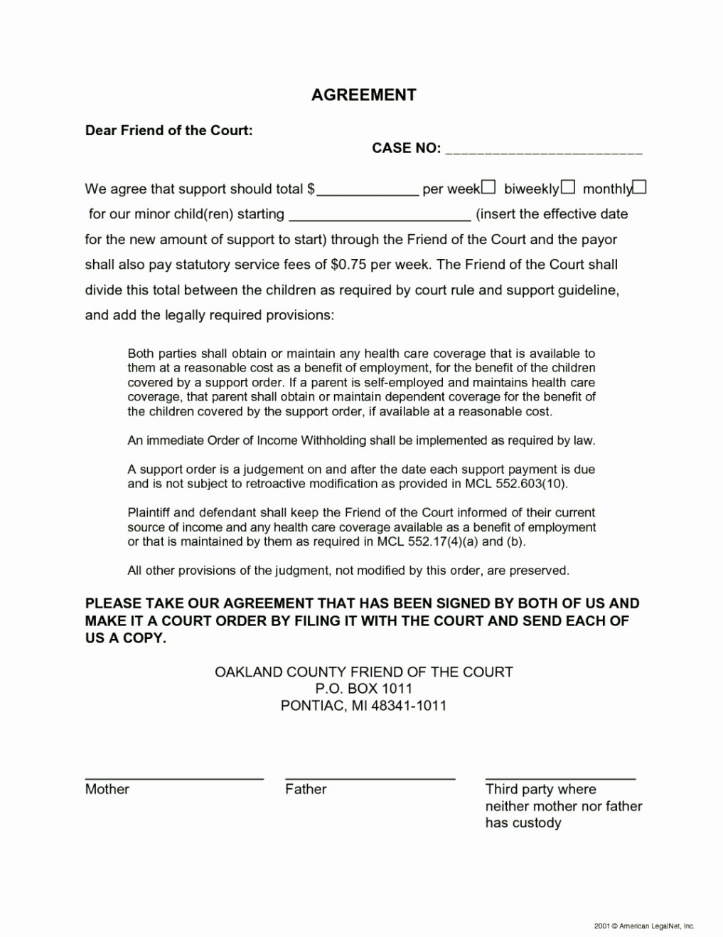 Agreement Template for Child Custody Template Update234