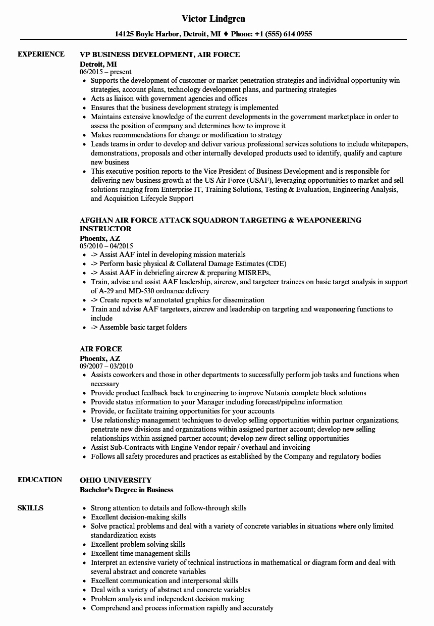 Air force Address for Resume Air force Tar Ed Resume