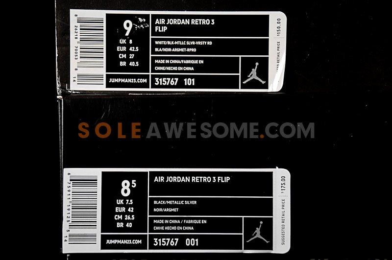 Air Jordan Retro 3 Flip Black & White Parison S