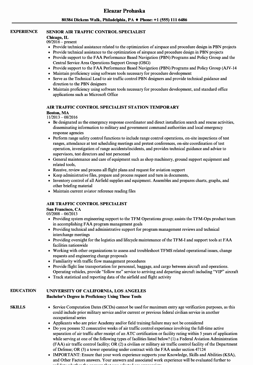 Air Traffic Control Specialist Resume Samples