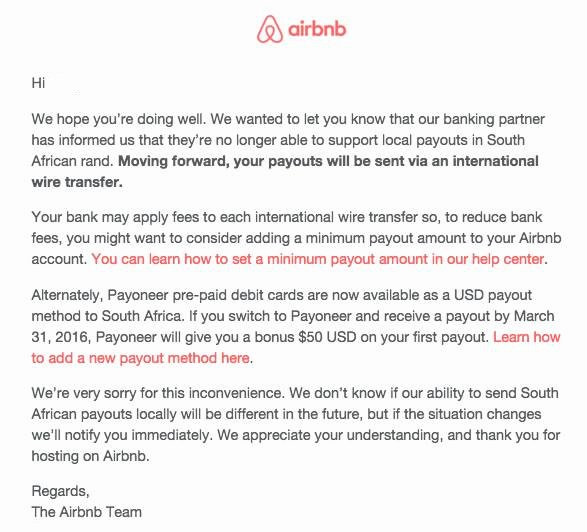 Airbnb Stops Local Payouts In south African Rand