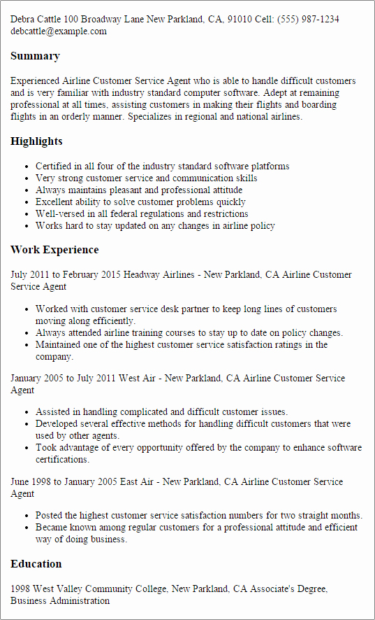Airline Customer Service Agent Resume Template — Best