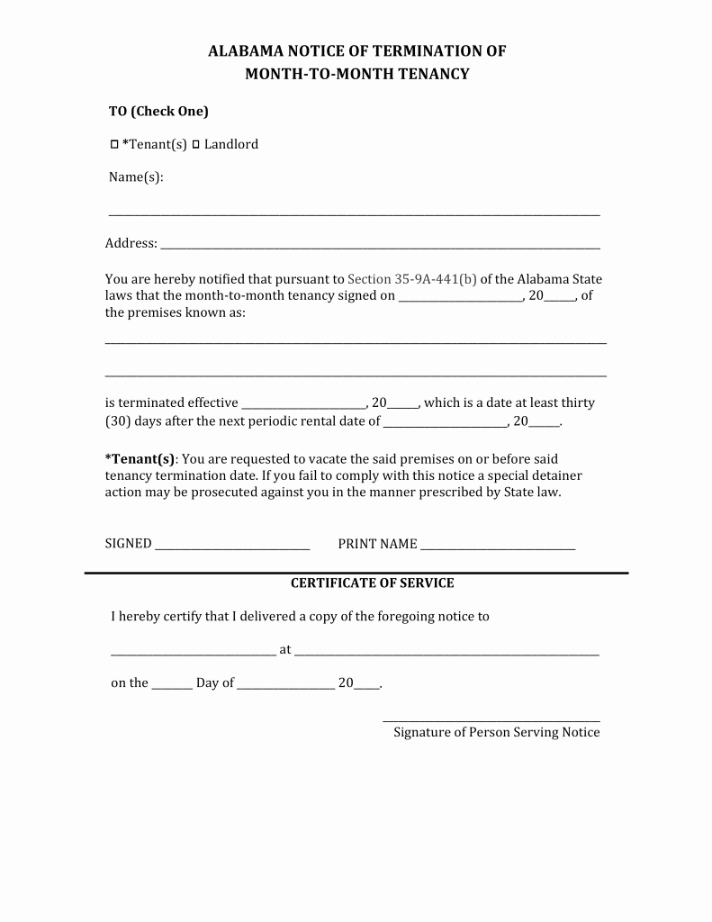 Alabama Lease Termination Letter form