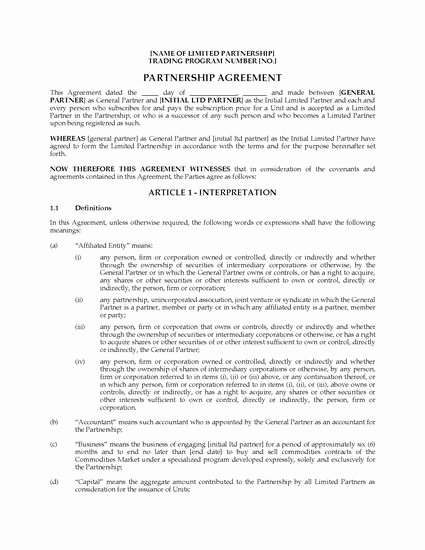 Alberta Limited Partnership Agreement for Buying & Selling
