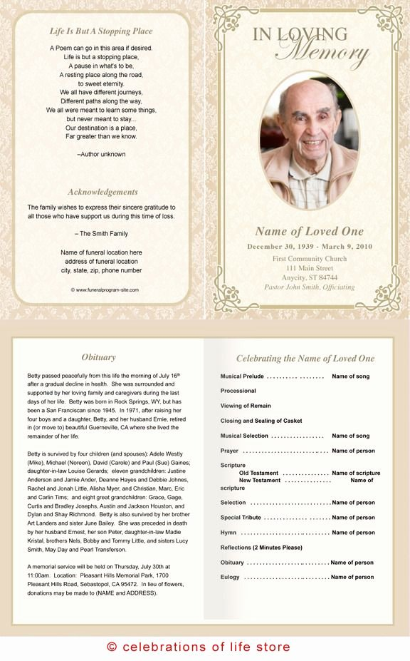 Alexandria Printable Funeral Program Template