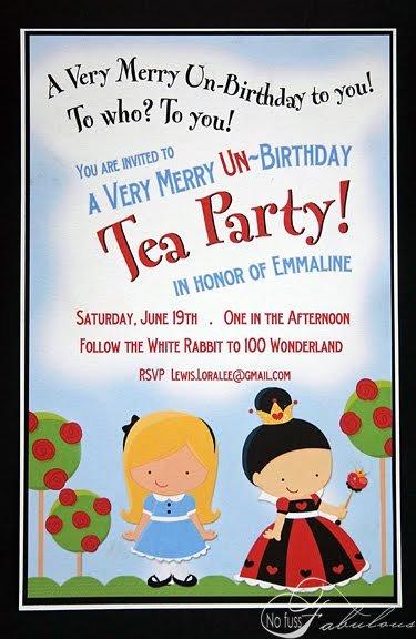 Alice and Wonderland Invitations Template