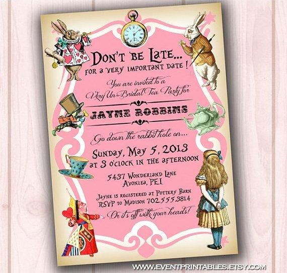 Alice In Wonderland Invitation Bridal Shower Baby Shower