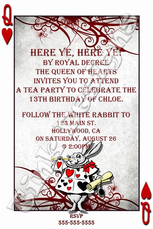 Alice In Wonderland Invitation Template 6