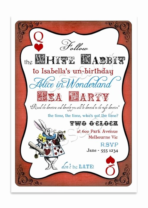 Alice In Wonderland Invitation Template Free