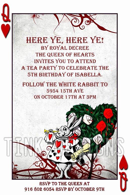 Alice In Wonderland Invitations Custom Personalized Baby