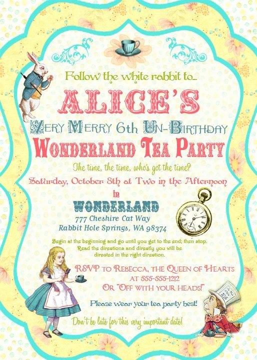 Alice In Wonderland Invitations Free Template