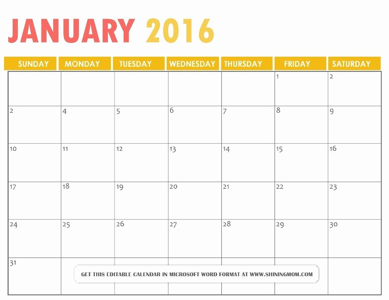 All Lovely Free Printable January 2016 Calendars