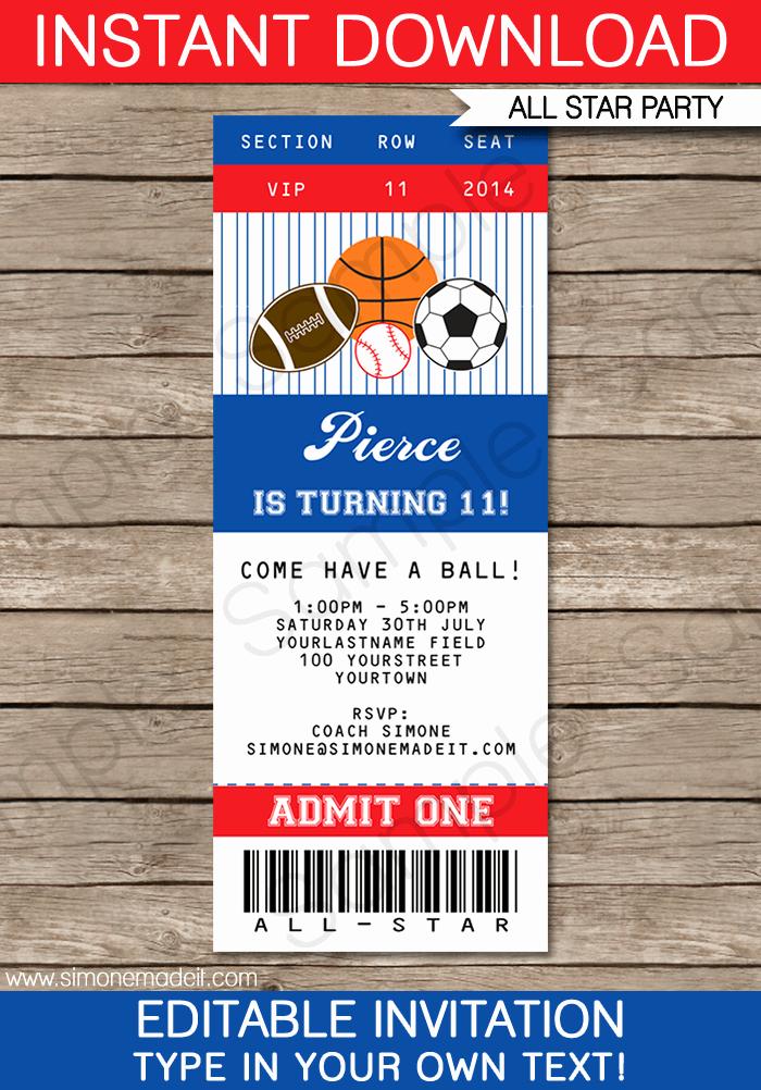 All Star Sports Ticket Invitations