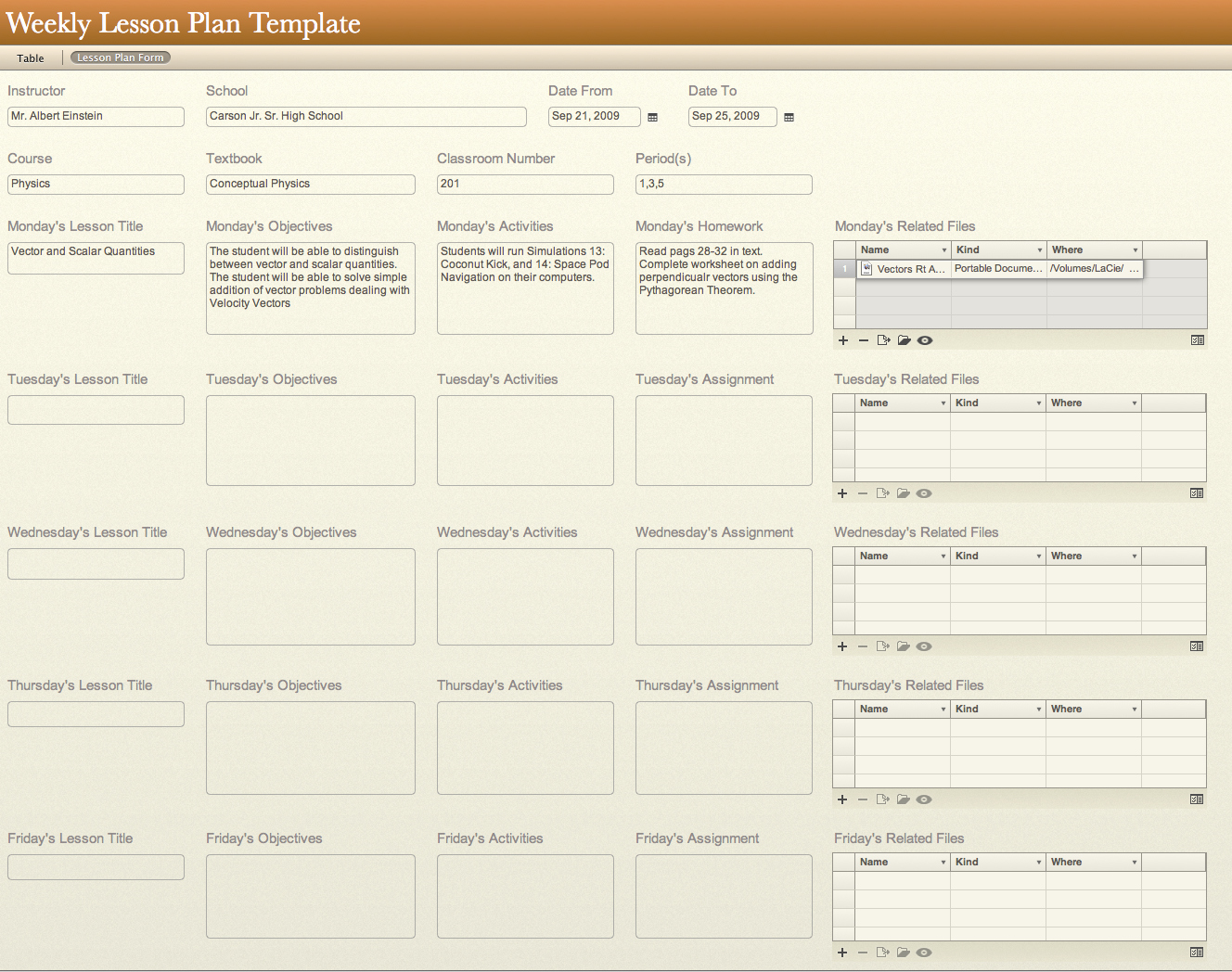 All Templates Weekly Lesson Plan Template
