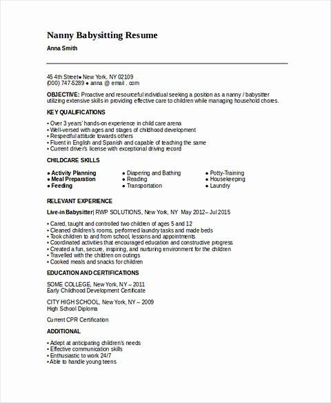 7 Sample Babysitter Resumes Latter Example Template