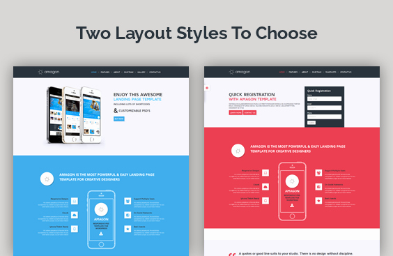 Amagon Flat Bootstrap Landing Page Template by