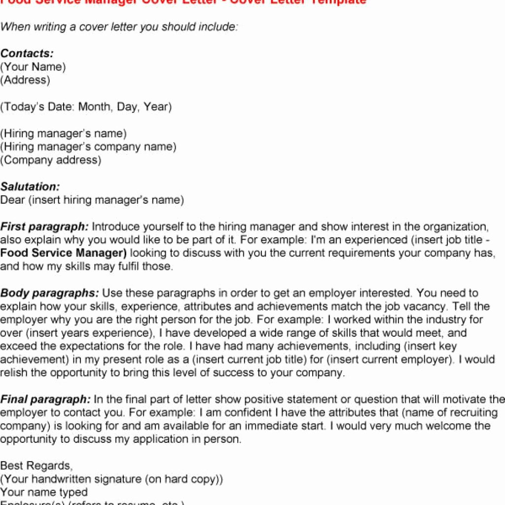 Amazing Food Service Cover Letter – Letter format Writing