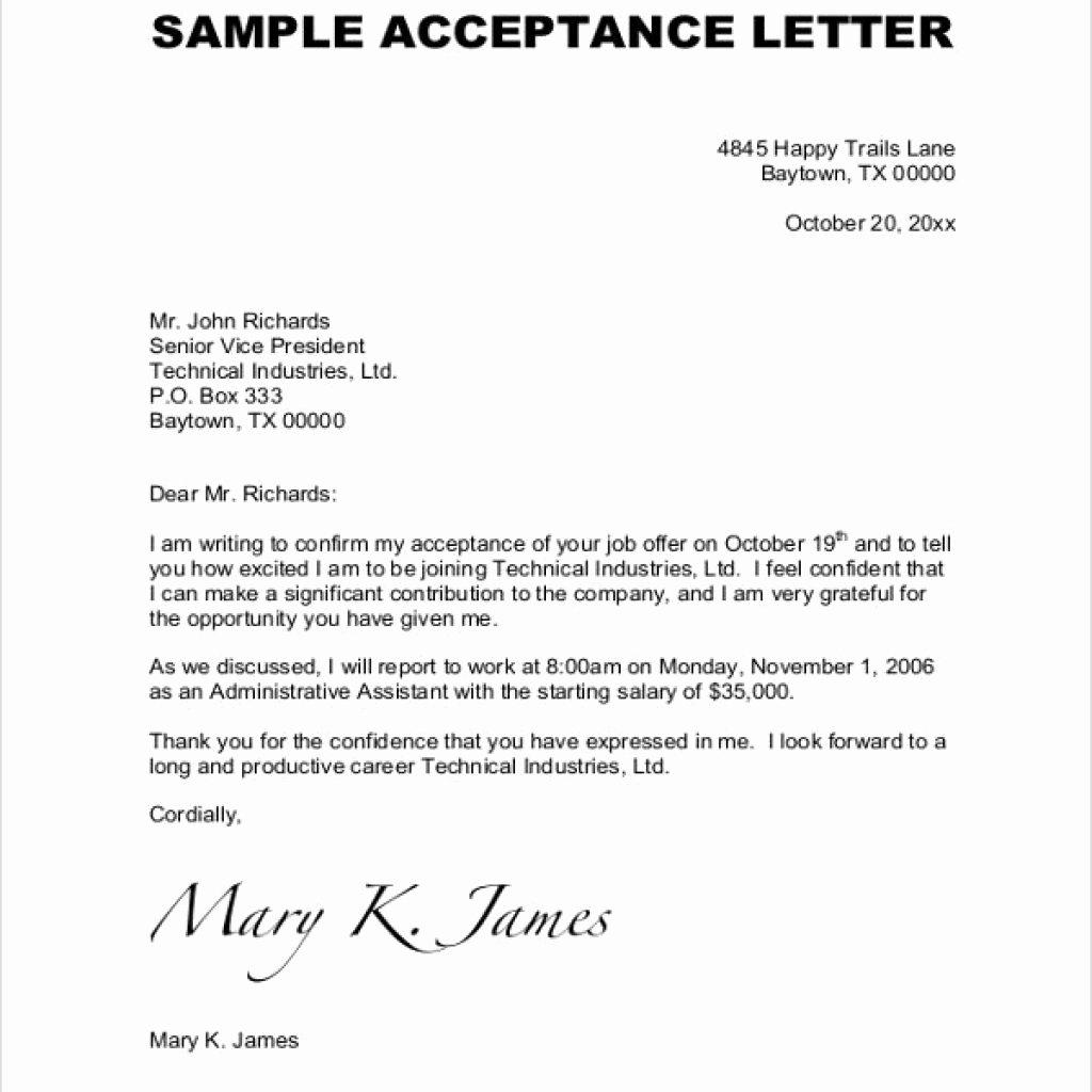 Amazing Job Fer Acceptance Letter – Letter format Writing