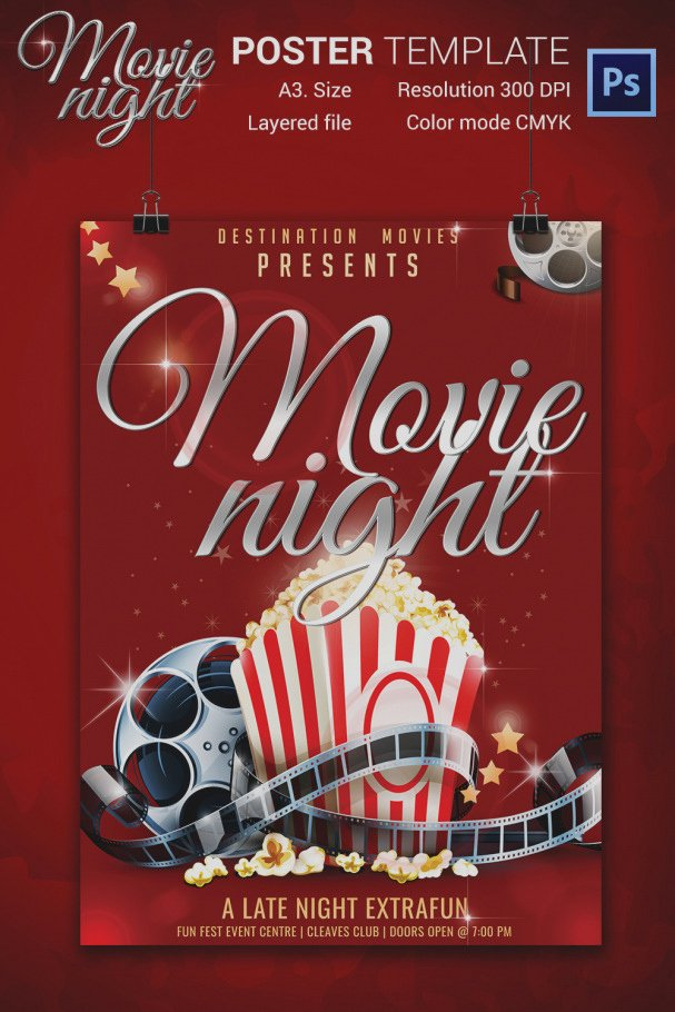Amazing Movie Night Flyer Template Free Passionative Co