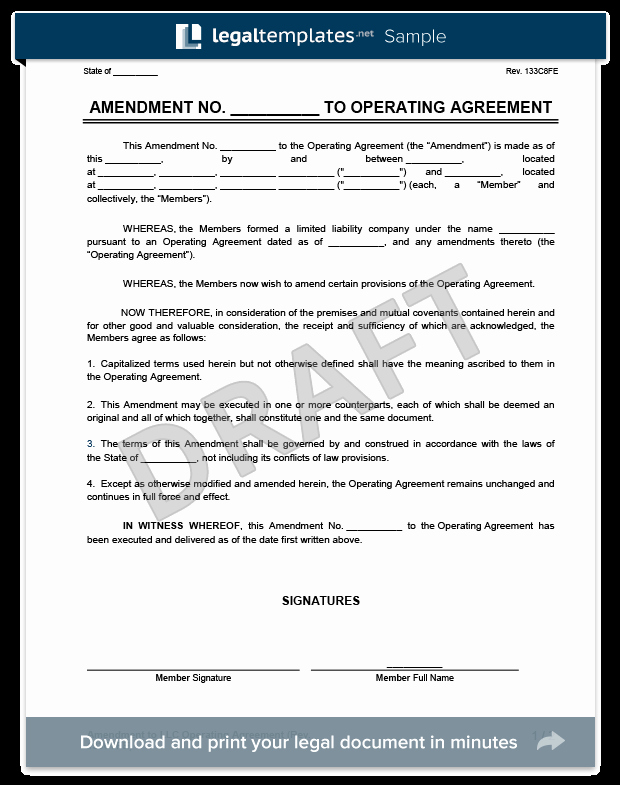 Amendment to An Llc Operating Agreement