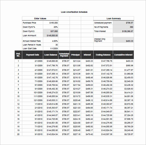Amortization Schedule Template 6 Free Sample Example