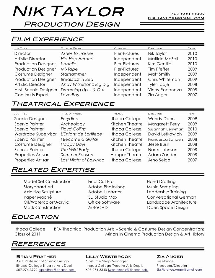 & theatre Resume
