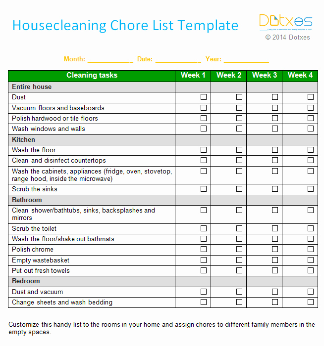 An Efficient Weekly House Cleaning Schedule Template