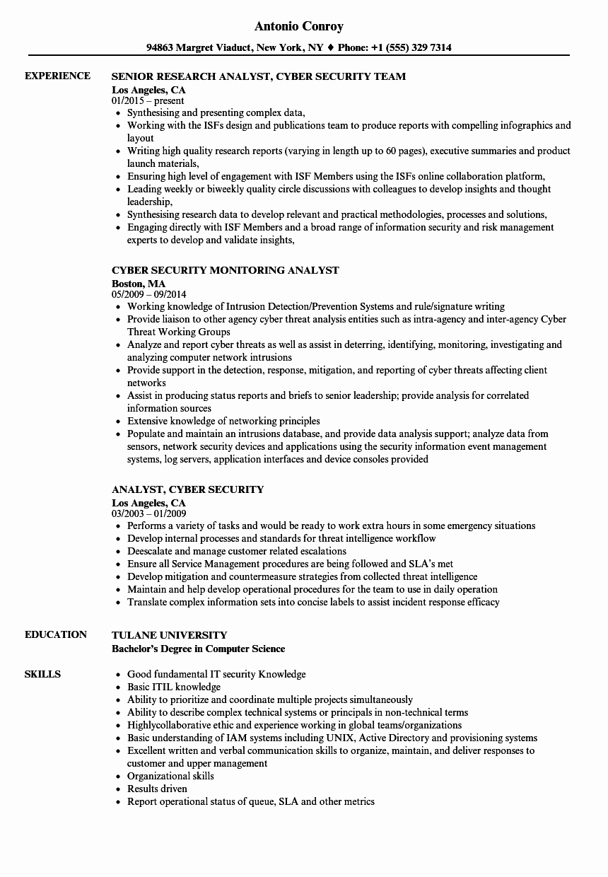 Analyst Cyber Security Resume Samples